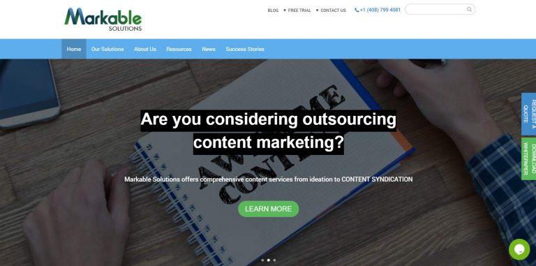 La page d'accueil de Markable Solutions