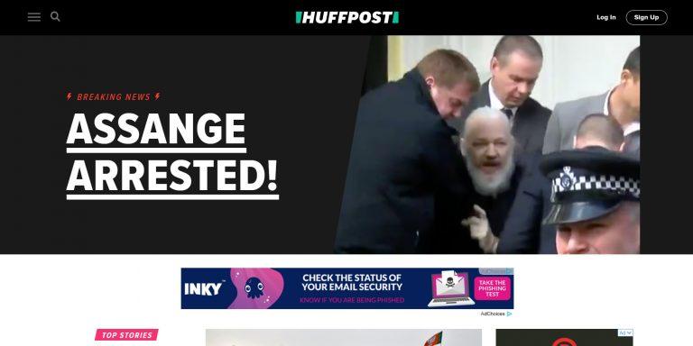 La page d'accueil du Huffington Post