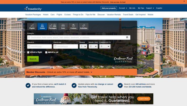 Page d'accueil de Travelocity