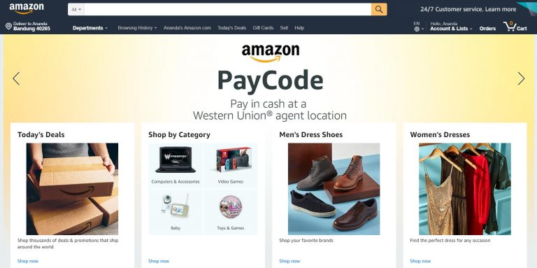 La page d'accueil d'Amazon.com