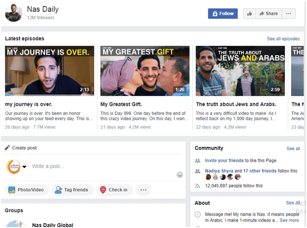 Nas Daily facebook Comment devenir un influenceur
